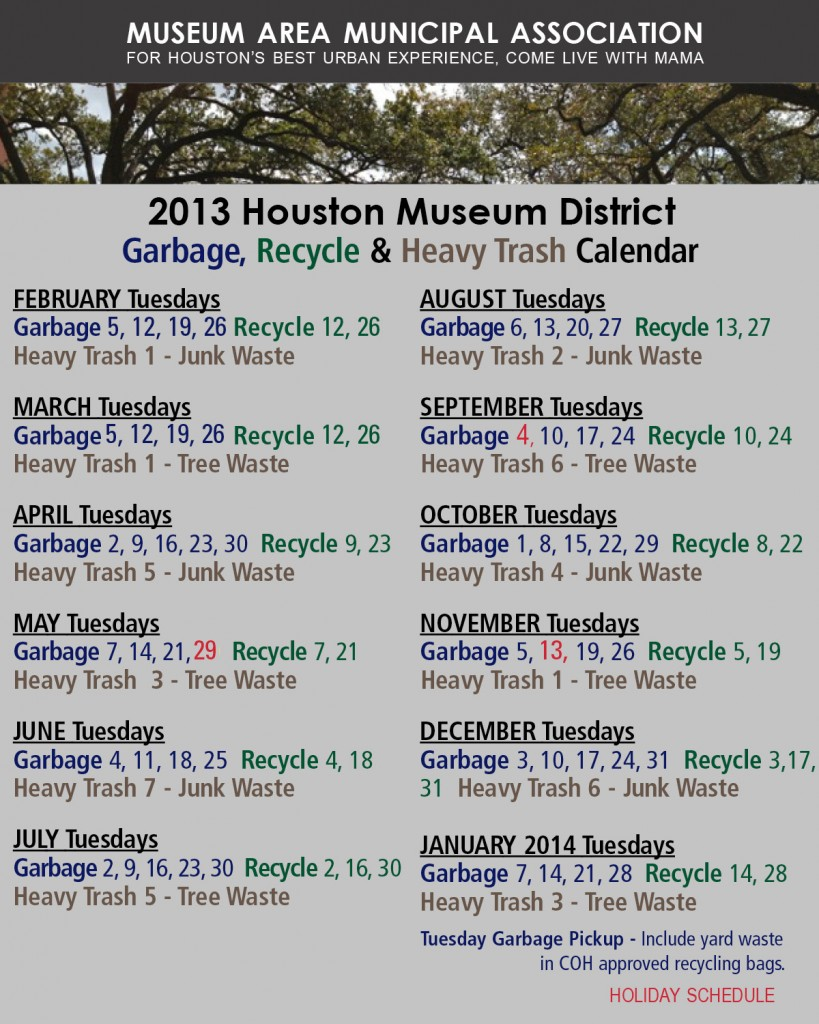 2013 Calendar Recycling Trash
