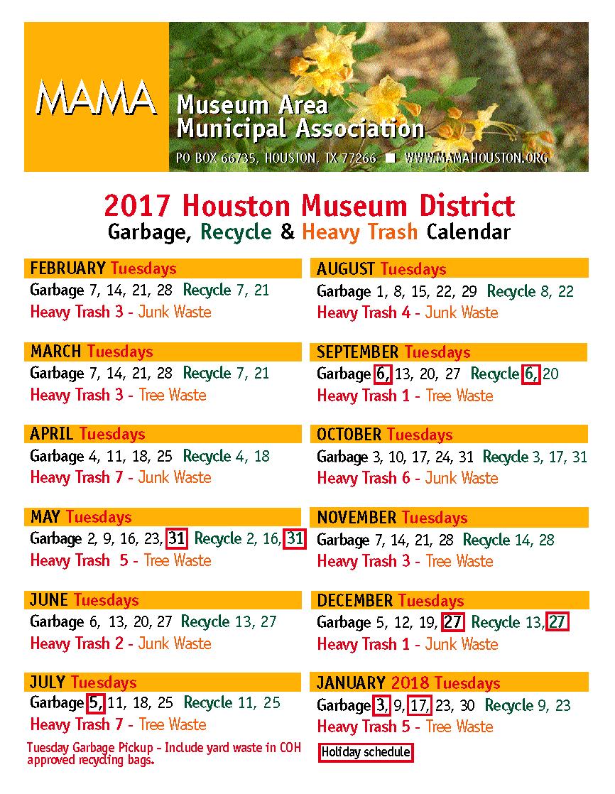 Houston Christmas Tree Pickup Part - 24: Heavy Trash, Garbage U0026 Recycling | Museum Area Municipal Association U2022  Houston